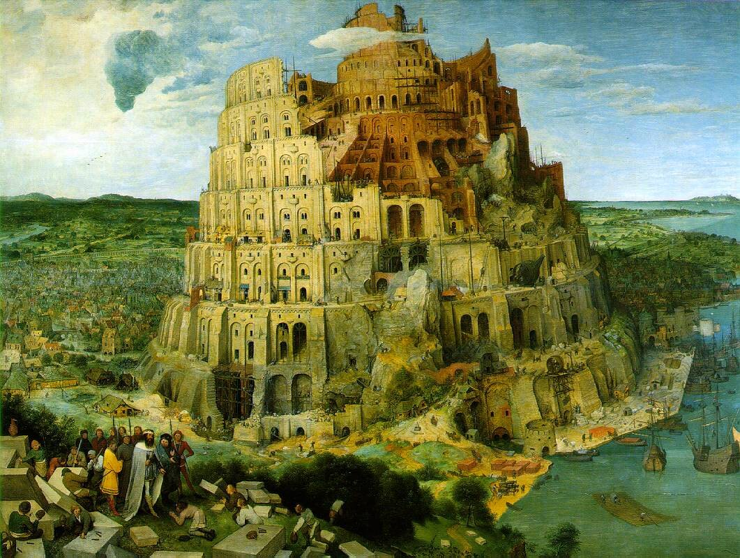 Budowa wieży Babel Źródło: Pieter Bruegel starszy, Budowa wieży Babel, 1563, olej na desce, Kunsthistorisches Museum, Wiedeń (czyt.: kunsthistoriszes muzeum), wiedeńskie muzeum historii sztuki, domena publiczna.