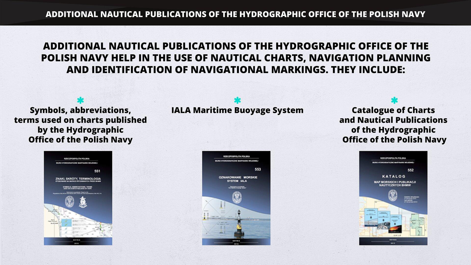 The photograph presents additional nautical publications of the Hydrographic Office of the Polish Navy. Fotografia przedstawia dodatkowe publikacje nautyczne BHMW.