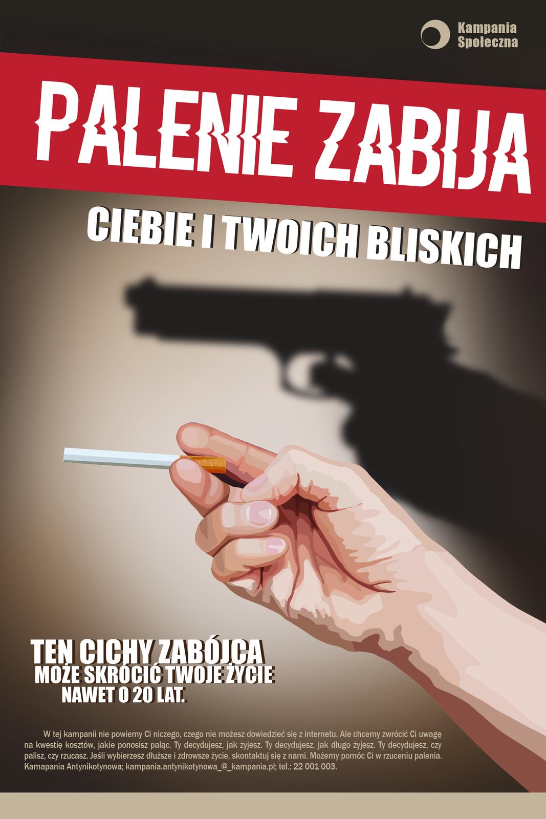 Grafika przedstawiająca plakat Kampanii antynikotynowej