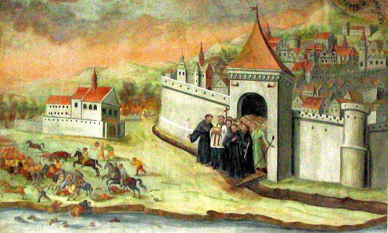Ucieczka zPrzemyśla wojsk Rakoczego (fragment) Wkraczając na ziemię przemyską w1657 roku, Jerzy II Rakoczy pamiętał oprzyrzeczonych mu traktatem wRadnot zdobyczach terytorialnych. Marzył też okoronie polskiej. Ztego względu niemal bezkrwawe (wyjątkiem były ziemie Lubomirskich, którzy - zdaniem Rakoczego - zawiedli jego zaufanie) podporządkowanie przez Rakoczego prawie całości ziemi przemyskiej zostało osiągnięte dzięki zawieranym układom oneutralności. Niewystępowały też żadne trudności komunikacyjne zSiedmiogrodem. Zdarzyło się jednak, że kolumna 16 wozów zwinem węgierskim wpodprzemyskiej wsi należącej do Karola Korniakta (prawdopodobnie Żurawica) została zaatakowana przez grupę szlachty zKorniaktem na czele (pełnił on wtym czasie funkcję marszałka przemyskiego). Ochronie transportu udało się obronić transport, lecz fakt targnięcia się na własność książęcą doprowadził do pasji Rakoczego. Książę siedmiogrodzki wydał rozkaz przykładnego ukarania Przemyśla. Wwyprawie wzięła udział cała pozostająca do dyspozycji piechota iartyleria oraz towarzyszące Rakoczemu wojska kozackie. Wciągu jednego lub dwóch dni oblegający doprowadzili do sytuacji, gdy dla miasta jedynym ratunkiem było podjęcie rokowań. Dzięki pośrednictwu arianina (Samuel Grondski) znajbliższego otoczenia Rakoczego, zawarto trzydniowy rozejm, po którym miasto zgodziło się na wypłacenie dużej kontrybucji izobowiązało się do niepodejmowania działań przeciwko księciu. Zgodzono się także na usunięcie zmiasta niemieckiego zaciężnego regimentu piechoty, któremu - mimo wypłaconego przez miasto żołdu - zezwolono na przystąpienie do wojsk Rakoczego. Corocznie wsierpniu jest wPrzemyślu organizowana tzw. Wincencjada. Święto nawiązuje do legendy opisującej cudowne ocalenie miasta przed wojskiem Rakoczego. Wtym ludowym przekazie, wmomencie, kiedy Siedmiogrodzianie iKozacy przystąpili do oblężenia miasta, wyszła im naprzeciw procesja zrelikwiami św. Wincentego. Pomoc patrona Przemyśla wywołała tak wielkie przerażenie wśród