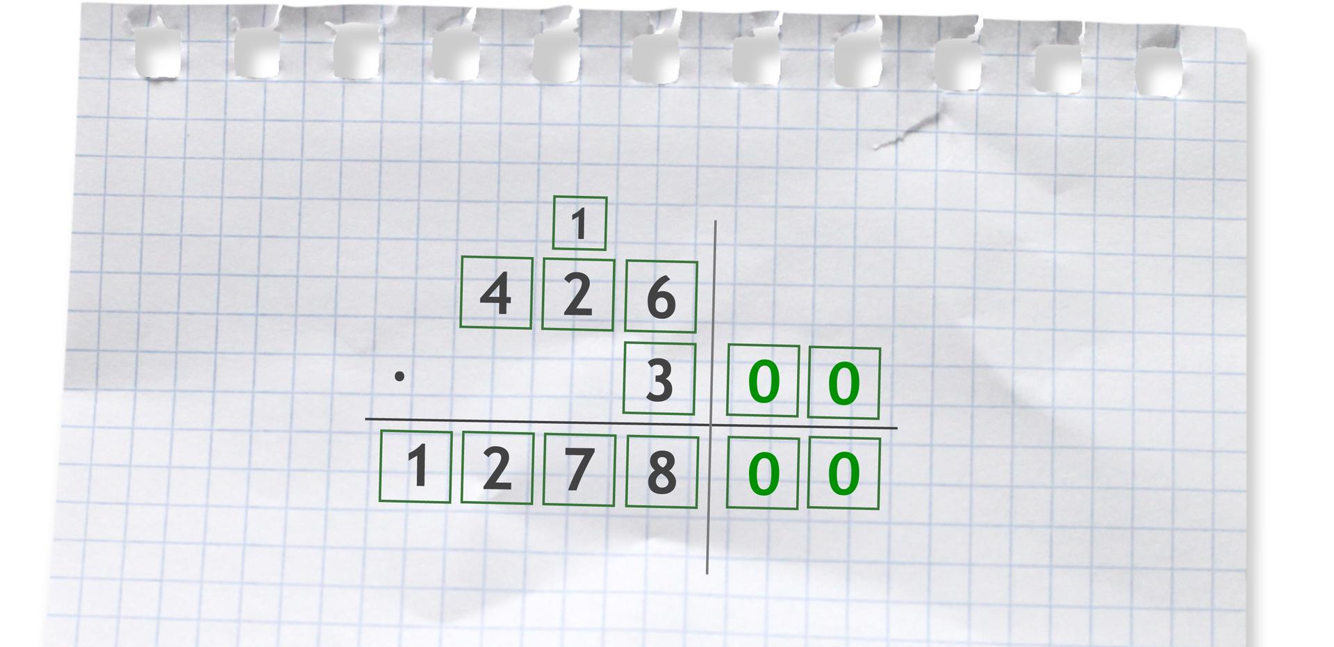 Przykład: 426 razy 300. Aby pomnożyć 426 razy 300, należy wysunąć wprawo wszystkie zera liczby 300. Następnie wykonujemy mnożenie przez 3. Do wyniku dopisujemy wszystkie wysunięte zera. 426 razy 300 =127800.