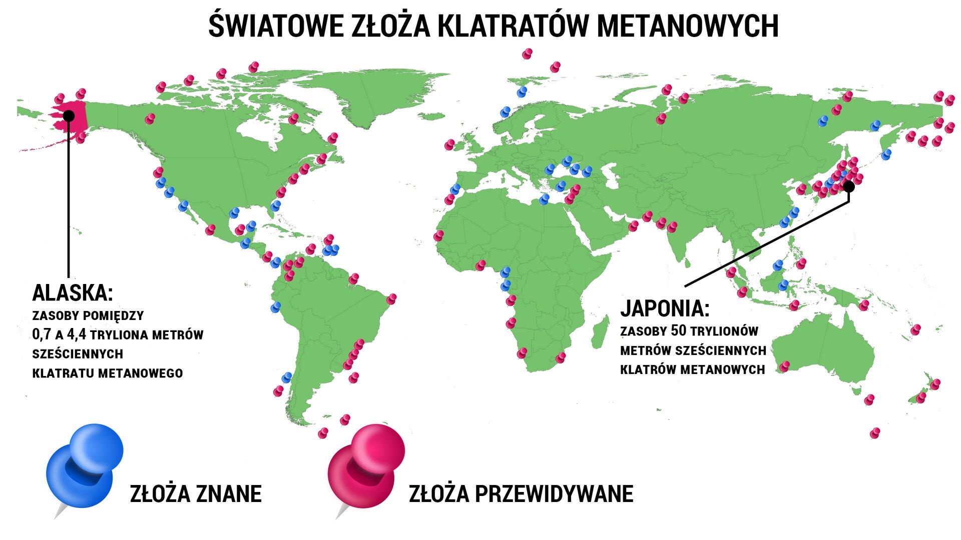 """Wramce zamieszczono polecenie 1. Treść polecenia jest następująca: """"Przeanalizuj mapę iwyjaśnij, dlaczego teoretycznie na całej kuli ziemskiej grozi nam megatsunami iznaczący skok temperatury atmosfery"""". Arkusz zawiera tytuł: """"Światowe złoża klatratów metanowych"""". Arkusz przedstawia mapę świata wkolorze zielonym oraz zaznaczone na niej punkty wkolorach niebieskim iróżowym. Niebieskie pinezki oznaczają złoża znane, aróżowe złoża przewidywane. Ponadto, na różowo zaznaczona jest Alaska zpodpisem: """"zasoby pomiędzy 0,7 a4,4 tryliona metrów sześciennych klatratu metanowego"""", atakże Japonia zpodpisem: """"zasoby 50 trylionów metrów sześciennych klatratów metanowych""""."""