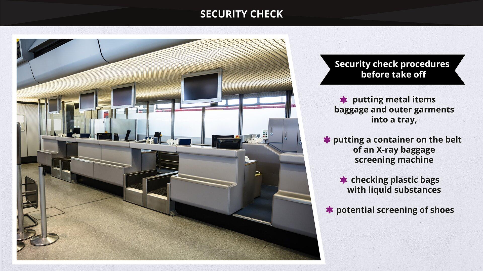 The image presents asecurity checkpoint at an airport together with the employees working there, and passengers before take off. Grafika przedstawia stanowisko kontroli bezpieczeństwa na lotnisku wraz zobsługującymi je pracownikami ipasażerami przed wylotem.