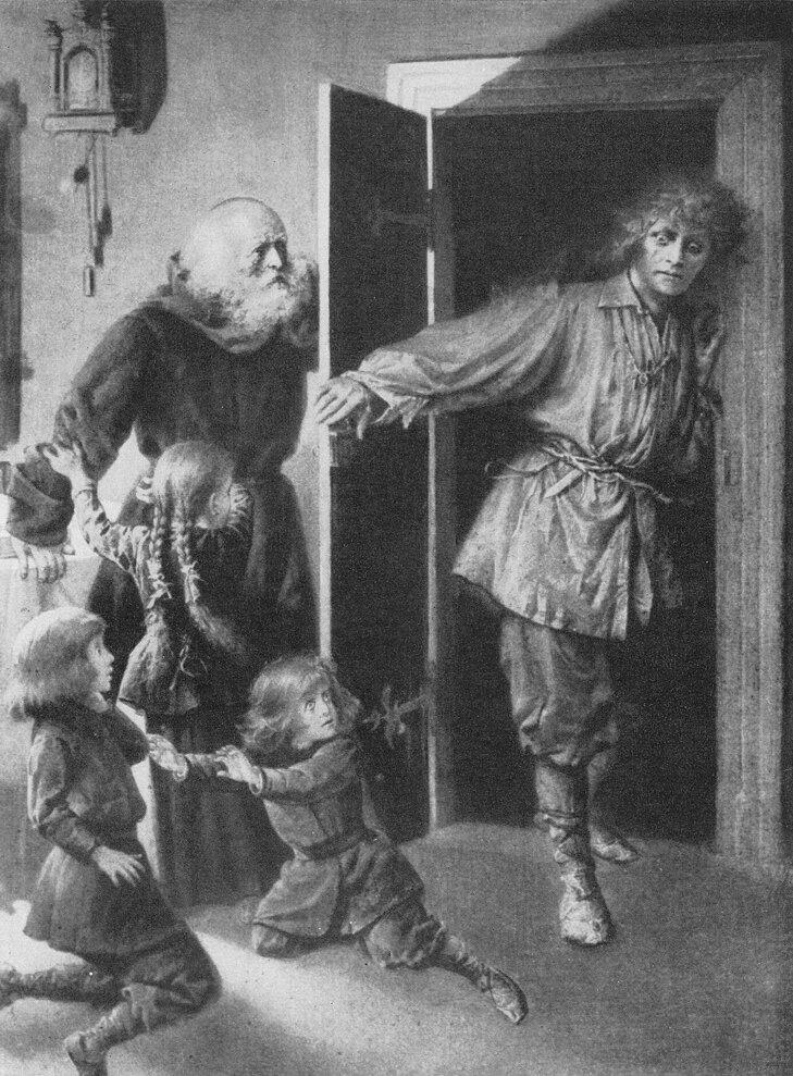 Upiór Ilustracja do Dziadów cz. IV Adama Mickiewicza wwydaniu Altnberga, Lwów 1896 Źródło: Czesław Borys Jankowski, Upiór, domena publiczna.