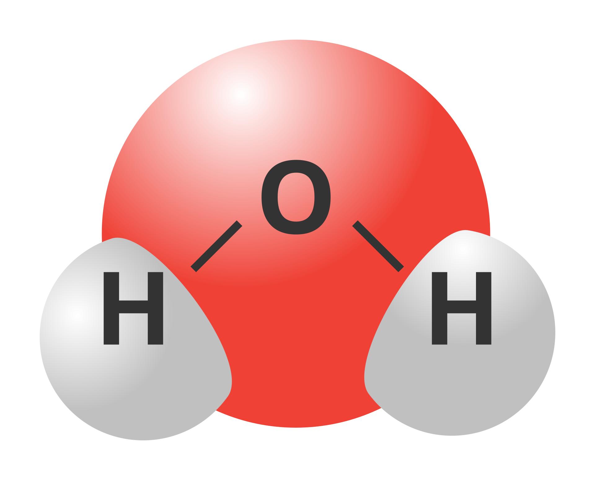 Ilustracja przedstawia rysunkowy model cząsteczki wody składający się zwiększej czerwonej kulki symbolizującej atom tlenu idwóch połączonych znią mniejszych szarych kulek symbolizujących atomy wodoru. Model zorientowany jest tlenem wgórę, awodorem wdół izaakcentowana jest wnim kątowy układ powiązań pomiędzy atomami za sprawą którego atomy wodoru leżą bardzo blisko siebie, prawie się stykając. Na model nałożony jest wzór strukturalny cząsteczki wody.