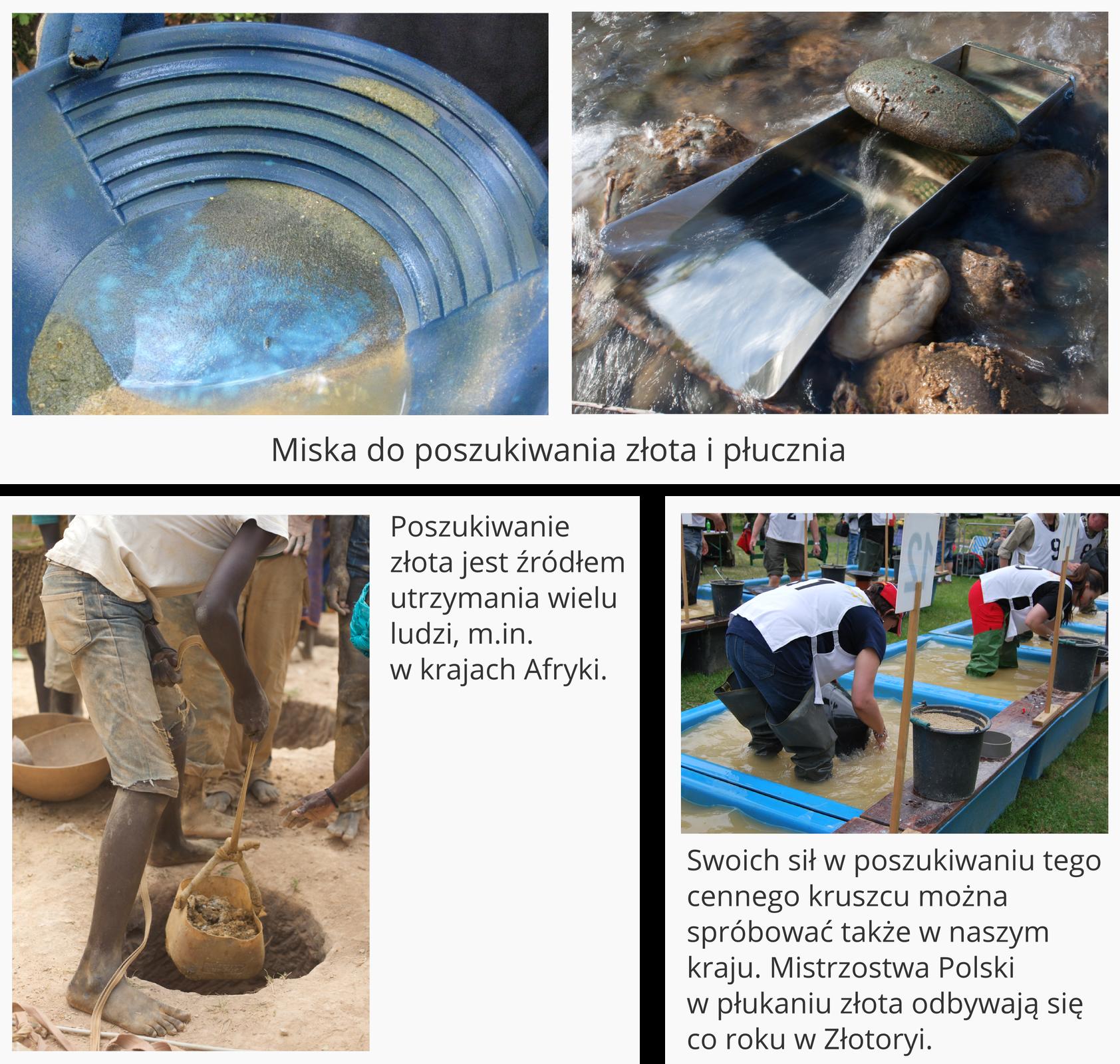 Ilustracja przedstawia cztery zdjęcia związane zposzukiwaniem złota. Dwa górne zdjęcia przedstawiają wzbliżeniu przyrządy do poszukiwania złota: płaską miskę do płukania ościankach ukształtowanych wschodki oraz płucznię, czyli metalowe podłużne korytko montowane wnurcie rzeki pełniące podobną rolę, jak miska. Poniżej widoczne są dwa zdjęcia. Lewe przedstawia czarnoskórego mężczyznę wydobywającego zdziury wziemi zawieszony na sznurze worek zkopalinami. Podpis obok tego zdjęcia głosi: Poszukiwanie złota jest źródłem utrzymania wielu ludzi między innymi wkrajach Afryki. Zdjęcie po prawej stronie przedstawia zawody wpłukaniu złota. Szereg umieszczonych obok siebie ponumerowanych stanowisk wypełnionych jest mętną wodą. Wkażdym stoi jeden zawodnik pochylony zmisą, obok ma wiadro iinne narzędzia. Podpis głosi: Swoich sił wposzukiwaniu tego cennego kruszcu można spróbować także wnaszym kraju. Mistrzostwa Polski wpłukaniu złota odbywają się co roku wZłotoryi.