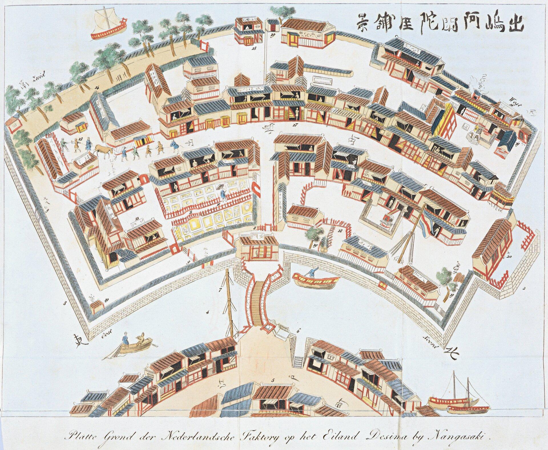 Deshima (Dejima) Sztuczna wyspa wzniesiona wporcie Nagasaki Źródło: Isaac Titsingh, Deshima (Dejima) Sztuczna wyspa wzniesiona wporcie Nagasaki, 1824-1825, Koninklijke Bibliotheek, Holandia, domena publiczna.