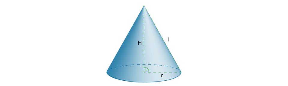 Rysunek stożka zpoprowadzoną wysokością H, tworzącą stożka lipromieniem podstawy r.