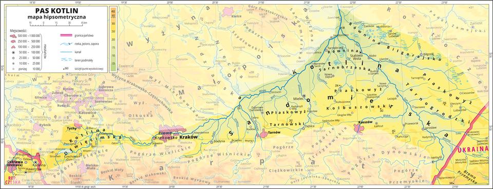 Hipsometryczne mapy Kotlin Podkarpackich