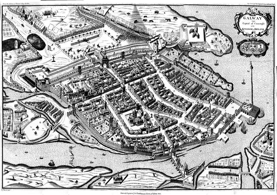 Galway Galway – miasto wIrlandii,jedno zostatnich miejsc oporu Irlandczyków przeciwko wojsko Cromwella, zdobyte w1652 r.Witaćpotężne fortyfikacje miasta, które zostało zdobyte na skutek głodu izarazy, które trapiły mieszkańców. Źródło: Galway, domena publiczna.