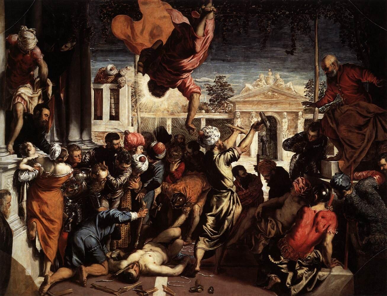Cud św. Marka oswabadzającego niewolnika Źródło: Tintoretto, Cud św. Marka oswabadzającego niewolnika, 1548, olej na płótnie, Accademia of Venice, domena publiczna.