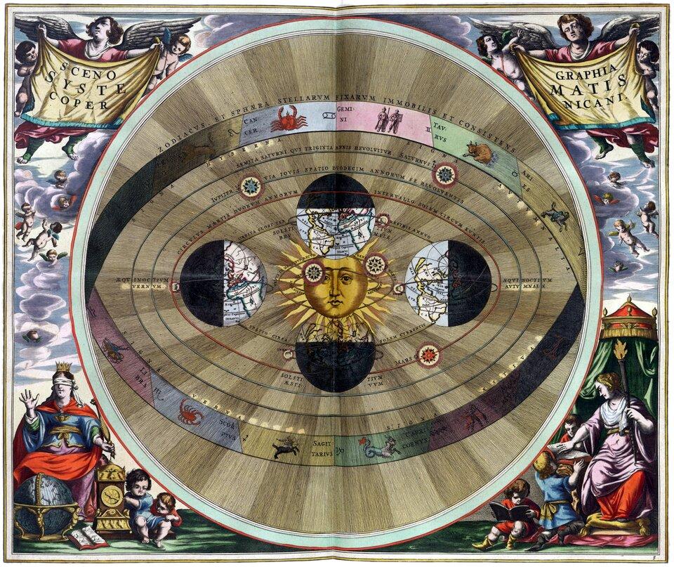 Druga kolorowa ilustracja przedstawia obraz Ziemi według teorii heliocentrycznej. Wcentralnej części ilustracji znajduje się Słońce. Ma ono ludzką twarz. Wokół niego rozchodzą się ostro zakończone promienie. Ponadto, wokół Słońca, na orbicie, widnieją cztery kule ziemskie, ułożone jak na tarczy zegara – jedna na dwunastej, druga na trzeciej, trzecia na szóstej iczwarta na dziewiątej. Kule są oświetlone przez promienie Słońca, jednak te ich części (połowy), na które nie padają promienie, są czarne. Połowy kul ziemskich skierowane do Słońca mają zaznaczone kontury kontynentów. Na każdej połowie inny kontynent. Wokół Słońca przed orbitą Ziemi znajdują się dwie owalne orbity, po których poruszają się planety. Za orbitą Ziemi są następne trzy owalne orbity iplanety na nich. Wokół każdej zczterech kul ziemskich pokazanych na rysunku krążą po swoich orbitach Księżyce. Całość otoczona jest owalnym pasem ze znakami zodiaku. Wszystko okala okrąg, poza krawędzią którego znajdują się anioły. Wprawym ilewym górnym rogu ilustracji umieszczono anioła iamorki. Poniżej – chmury. Wlewym dolnym rogu siedzi królowa. Na głowie ma koronę, oczy zakryte opaską. Przed nią na stojaku stoi mała kula ziemska, atakże zegar iotwarta książka. Obok zegara bawi się dwoje dzieci. Wprawym dolnym rogu znajduje się tron, na którym siedzi królowa. Wlewej dłoni trzyma berło wkształcie pochodni. Druga dłoń leży na kartkach otwartej książki. Czyta książkę trzymaną przez dziecko. Drugie dziecko czyta inną książkę.