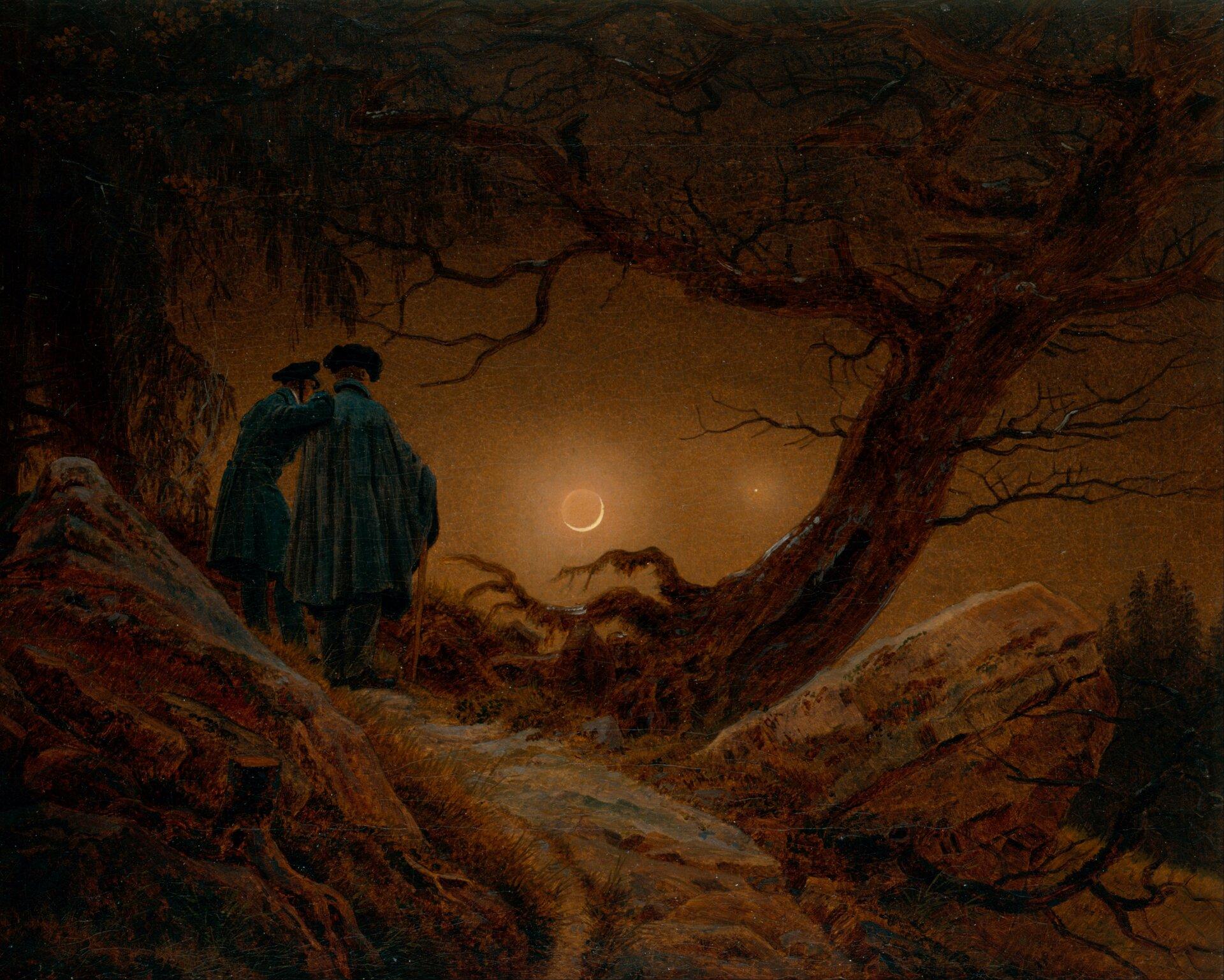 Dwaj mężczyźni obserwujący księżyc Źródło: Caspar David Friedrich, Dwaj mężczyźni obserwujący księżyc, 1819, domena publiczna.