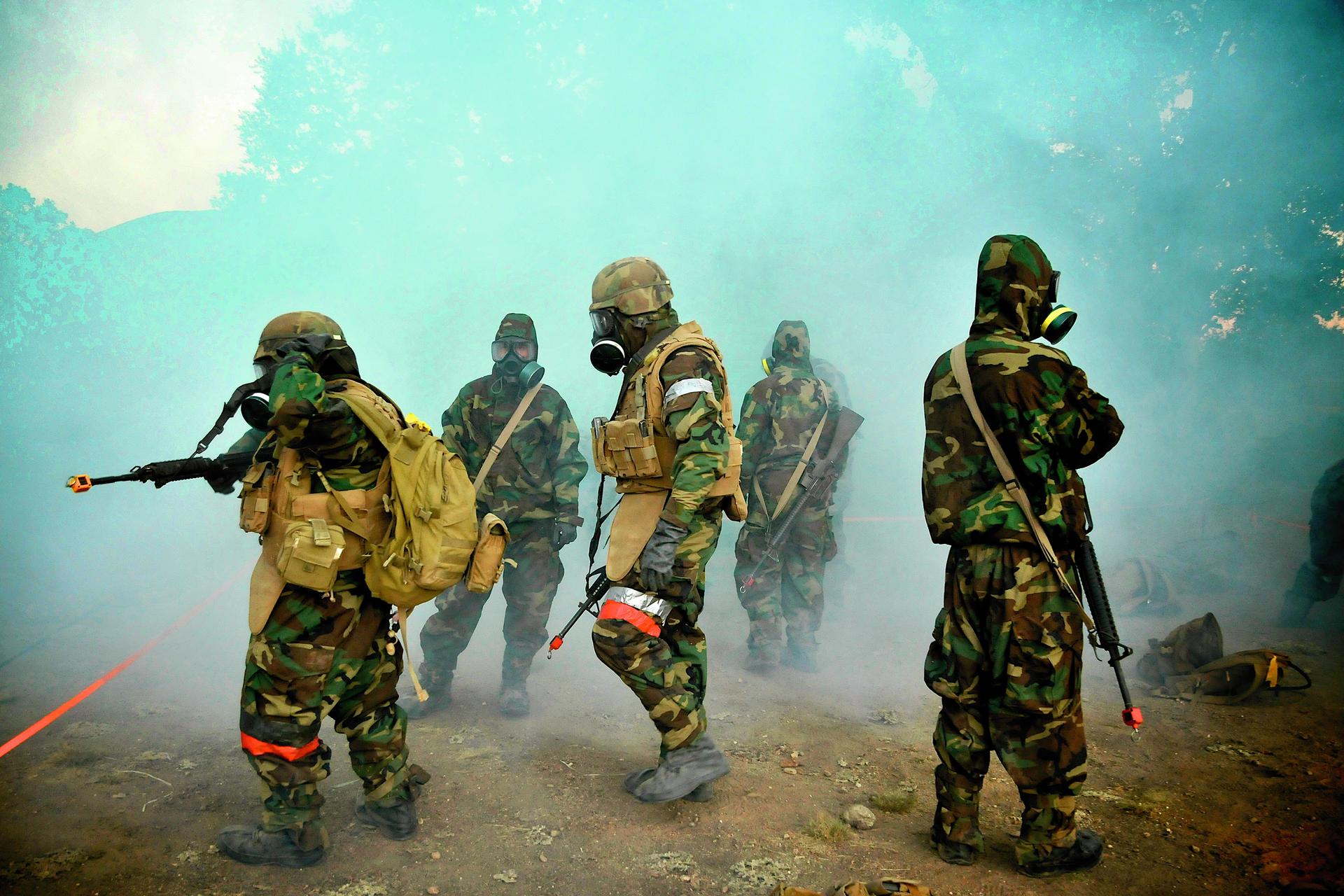 Kolorowe zdjęcie przedstawia żołnierzy wtrakcie działań zużyciem broni chemicznej. Pięciu żołnierzy wmundurach polowych. Materiał wkolorowe wzorki wkolorze zielonym, brązowym iżółtym. Wszyscy wmaskach przeciwgazowych. 2 żołnierzy po lewej whełmach. Trzej pozostali wkapturach bez hełmów. Żołnierze mają karabiny przewieszone na plecach. Wokół żołnierzy unosi się biały gęsty dym.