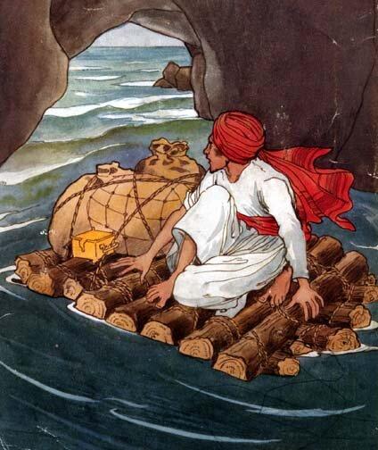 Na tratwie zbitej zdrewnianych bali płynie na wodzie, wśród skał mężczyzna wbiałym stroju, wczerwonym turbanie na głowie. Obok niego leżą worki izłota skrzynka.