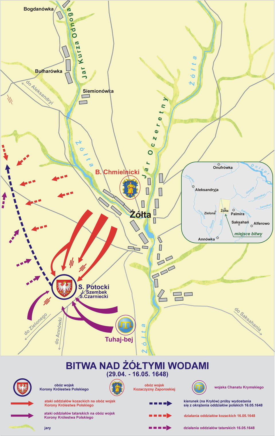 Plan bitwy nad Żółtymi Wodami 29 kwietnia – 16 maja 1648 r. Plan bitwy nad Żółtymi Wodami 29 kwietnia – 16 maja 1648 r. Źródło: Lonio17, Wikimedia Commons, licencja: CC BY-SA 4.0.