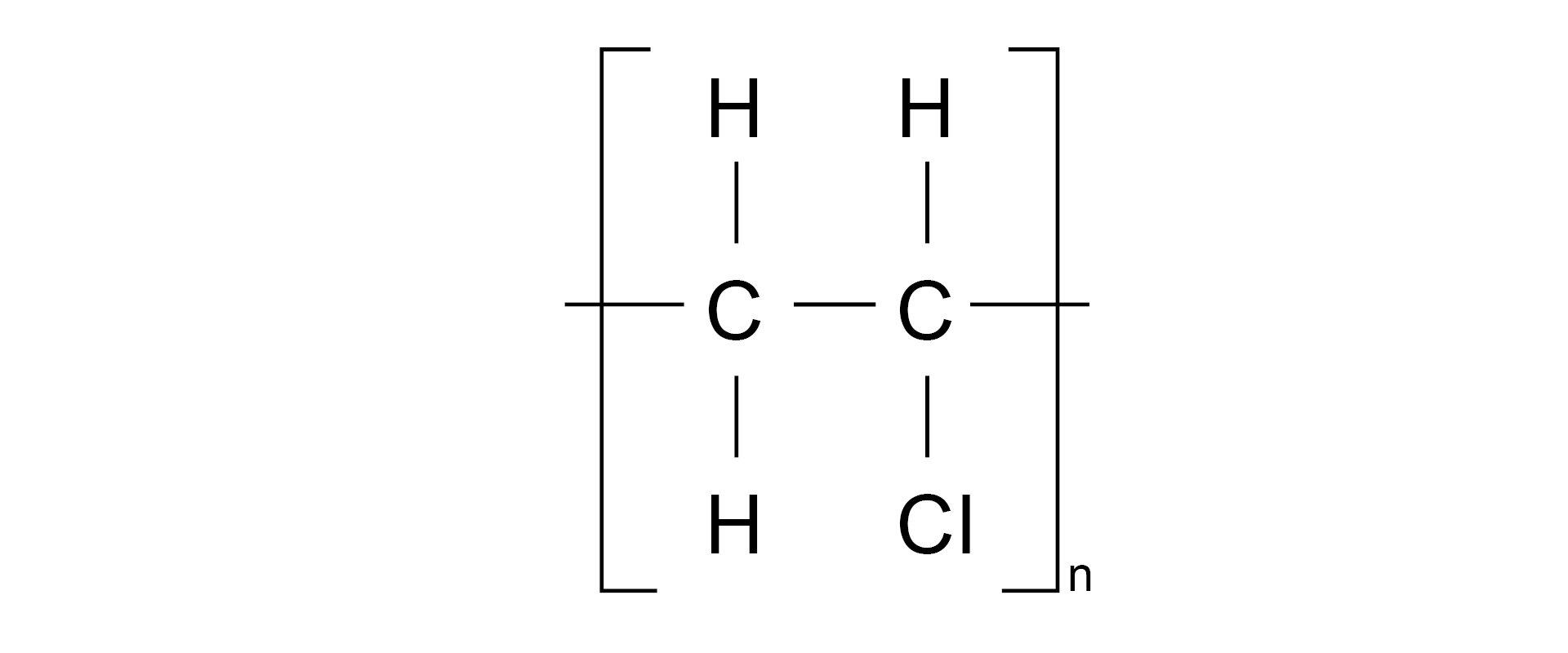 Ilustracja pokazuje wzór strukturalny polichlorku winylu.