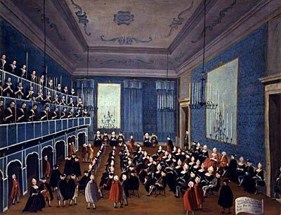 """La cantata delle putte delli Ospitali Obraz wjednym zweneckich pałaców pokazujący scenę zkoncertu wsierocińcu dla dziewcząt. (Zwróć uwagę na publiczny charakter koncertu iwzględną """"równość"""" słuchaczysiedzących podobnie jak dzisiaj przed występującymi artystami). Źródło: Gabriele Bella, La cantata delle putte delli Ospitali, 1700, domena publiczna."""