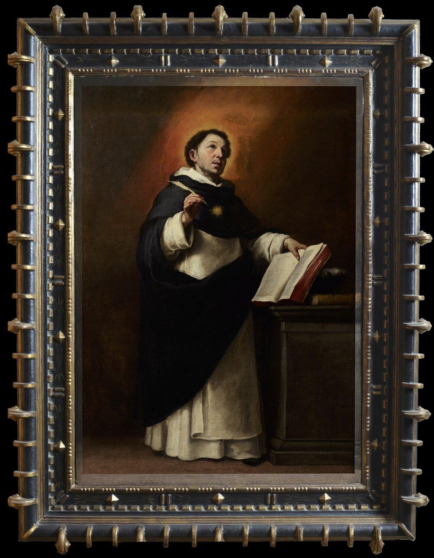 Święty Tomasz zAkwinu Wyjaśnij, dlaczego malarz wyposażył św. Tomasza watrybuty widoczne na obrazie. Źródło: Bartolomé Esteban Murillo, Święty Tomasz zAkwinu, 1650, olej na płótnie, licencja: CC BY 3.0.