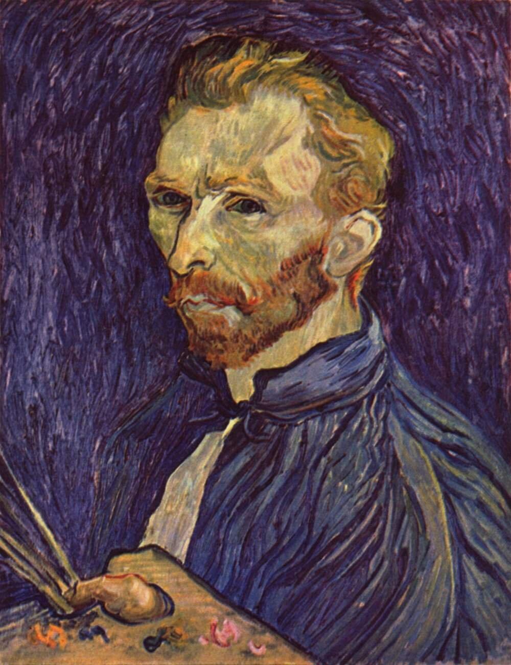 Autoportret (z paletą) Źródło: Vincent van Gogh, Autoportret (z paletą), 1889, olej na płotnie, National Gallery of Art, Washington.