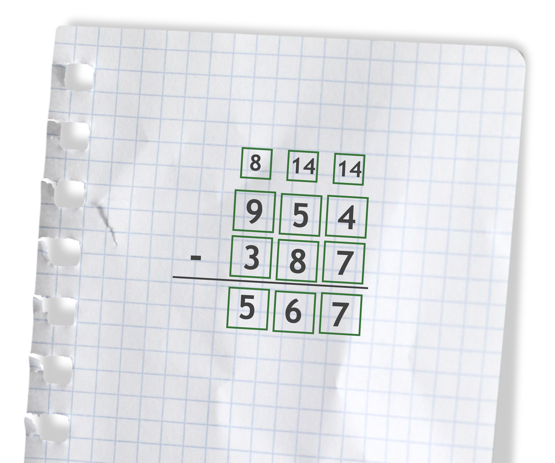 Przykład: 954 - 387 =567. Rozwiązanie zadania podpunkt c.