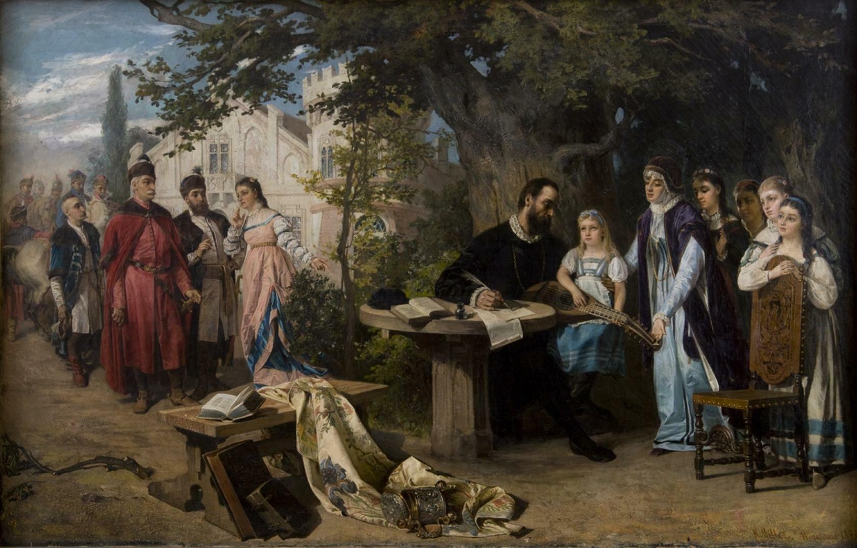 Odwiedziny Jana Zamoyskiego wCzarnolesie Źródło: Karol Miller (1835–1920; polski malarz), Odwiedziny Jana Zamoyskiego wCzarnolesie, 1877, Muzeum Narodowe wKrakowie, domena publiczna.