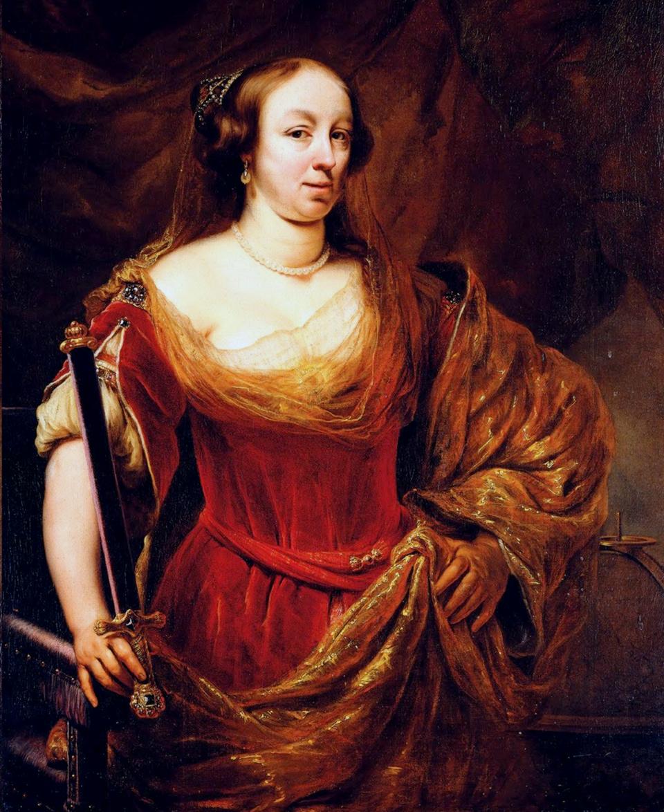 Portret damywczerwonej sukni iszalu haftowanym złotem;tradycyjnie identyfikowany jako portretMarii Ludwiki Gonzaga