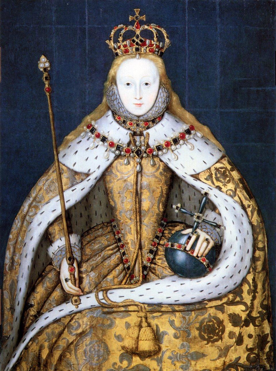 Elżbieta ITudor wstroju koronacyjnym Elżbieta ITudor wstrojukoronacyjnym. Siedemnastowieczna kopia obrazu zok. 1559 r. Źródło: Elżbieta ITudor wstroju koronacyjnym, olej na drewnie, National Portrait Gallery, domena publiczna.