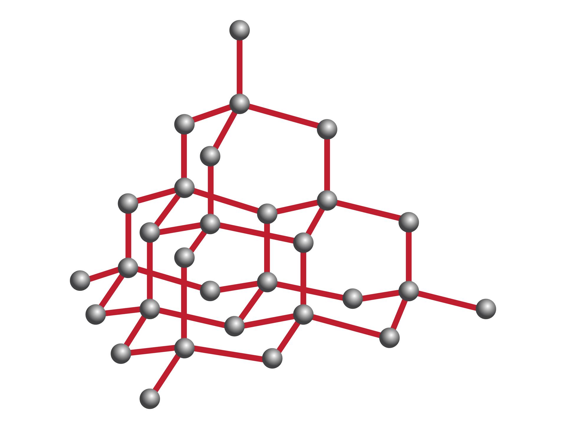 Ilustracja przedstawia strukturę atomów węgla wkrysztale diamentu. Czarne kulki symbolizujące atomy połączone są czerwonymi liniami dla oznaczenia wiązań kowalencyjnych. Struktura wewnętrzna kryształu diamentu, mimo pozornego skomplikowania jest bardzo regularna, akażdy atom węgla jest połączony wiązaniami kowalencyjnymi zczterema takimi samymi atomami.