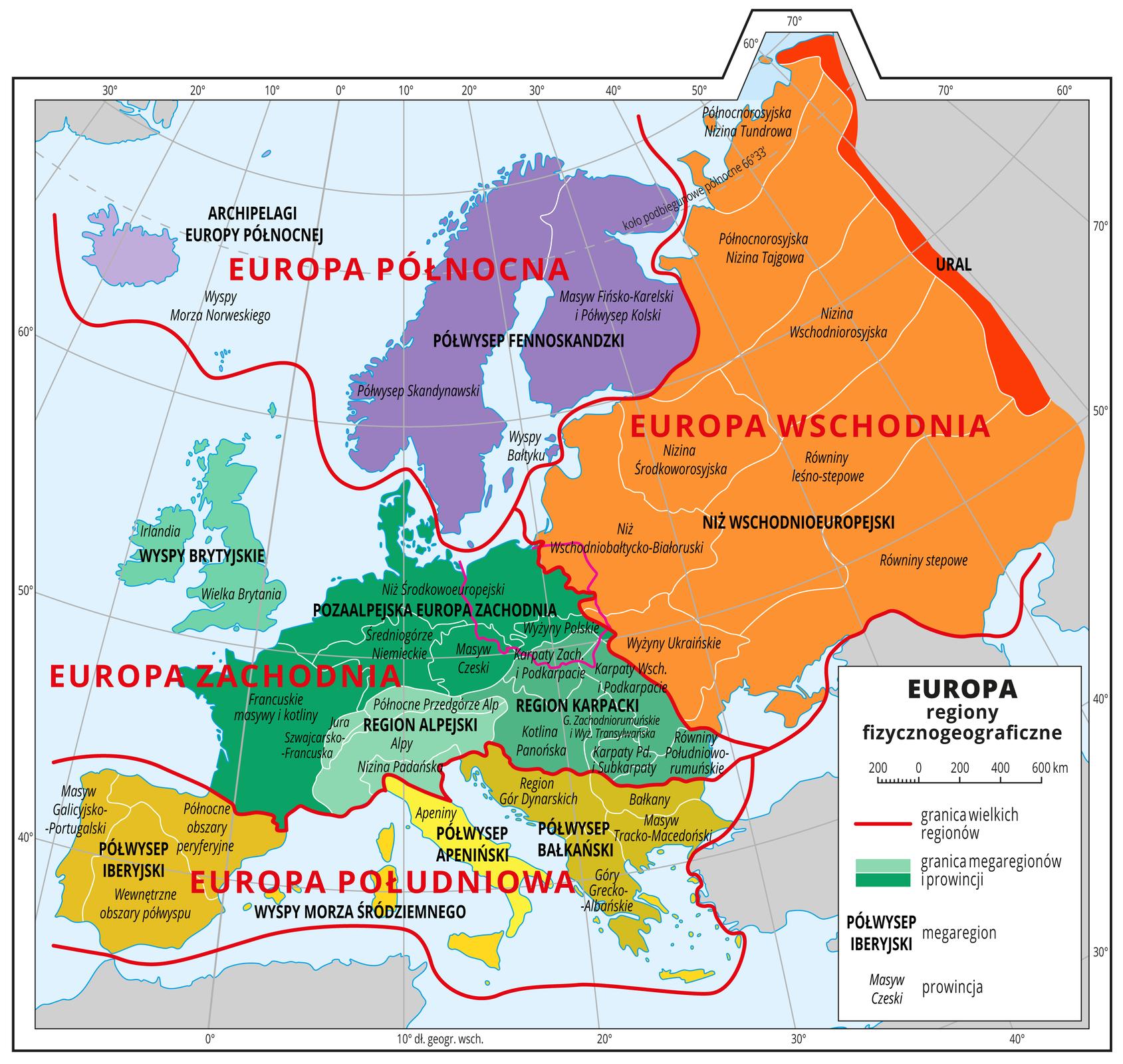 Ilustracja przedstawia mapę Europy. Kolorami wyróżniono wielkie regiony: Europa Wschodnia, Europa Północna, Europa Zachodnia, Europa Południowa. Wich obrębie nasyceniem kolorów wyróżniono megaregiony – Europa Północna ؘ– Archipelagi Europy Północnej IPółwysep Fennoskandzki, Europa Zachodnia – Wyspy Brytyjskie, Pozaalpejska Europa Zachodnia, Region Karpacki, Region Alpejski, Europa Południowa – Półwysep Iberyjski, Wyspy Morza Śródziemnego, Półwysep Apeniński, Półwysep Bałkański, Europa Wschodnia – Niż Wschodnioeuropejski, Ural. Wobrębie megaregionów wyznaczono jeszcze mniejsze jednostki – prowincje. Mapa zawiera południki irównoleżniki, dookoła mapy wbiałej ramce opisano współrzędne geograficzne co dziesięć stopni.