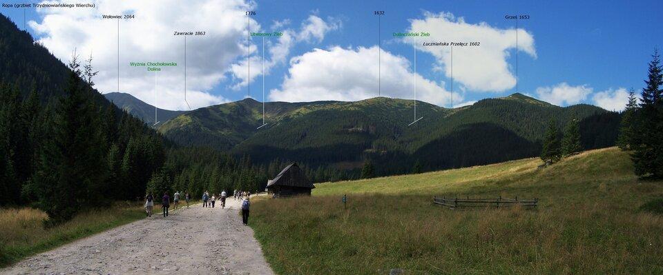 U-kształtna, szeroka, polodowcowa Dolina Chochołowska