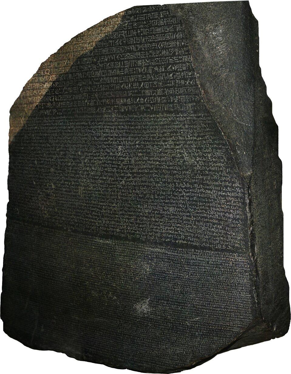 Kamień zRosetty. Obecnie przechowywany jest wzbiorachMuzeum BrytyjskiegowLondynie Kamień zRosetty. Obecnie przechowywany jest wzbiorachMuzeum BrytyjskiegowLondynie Źródło: Hans Hillewaert, Wikimedia Commons, licencja: CC BY-SA 4.0.