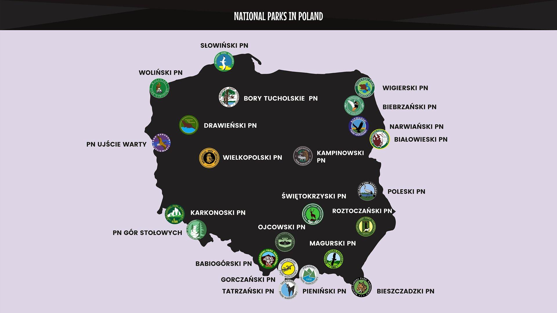 The graphics show amap of Poland with the logos of the country's national parks. Grafika przedstawia mapę Polski znaniesionymi logotypami wszystkich parków narodowych.