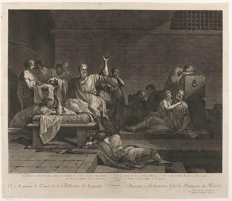 Śmierć Sokratesa Źródło: Jean François Pierre Peyron, Śmierć Sokratesa, 1790, grawerunek, domena publiczna.