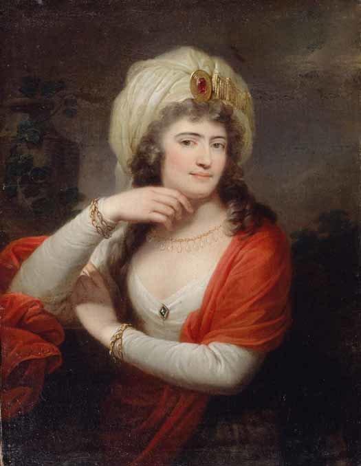 Aleksandra zd. Engelhardt Branicka, żona Franciszka Ksawerego Branickiego AleksandraEngelhardt (1754-1838) była oficjalnie siostrzenicą niezwykle wpływowego ministra carskiego, ale też faworyta Katarzyny II, Grigorija Potiomkina. Plotki mówiły jednak, że była naturalną córka carycy. Za mąż wyszła za Branickiego w1781 r. Być może ta koligacja ipowiązania zelitami władzy Rosji były jednym zelementów zdrady Branickiego jeden zinicjatorów konfederacji targowickiej), ale też jego kariery iwielkiego majątku. Źródło: Josef Maria Grassi, Aleksandra zd. Engelhardt Branicka, żona Franciszka Ksawerego Branickiego, 1793, Olej, domena publiczna.