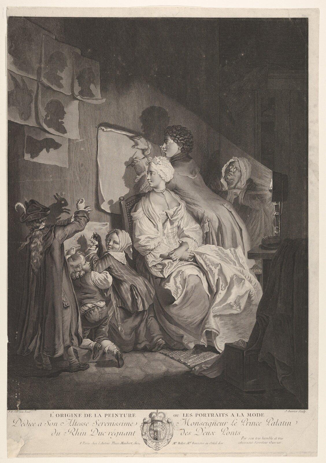 """Ilustracja przedstawiająca grafikę autorstwa Jeana Ouvriera pt. """"Początki malarstwa"""". Ilustracja przedstaiw wspólnie rysującą rodzinę."""