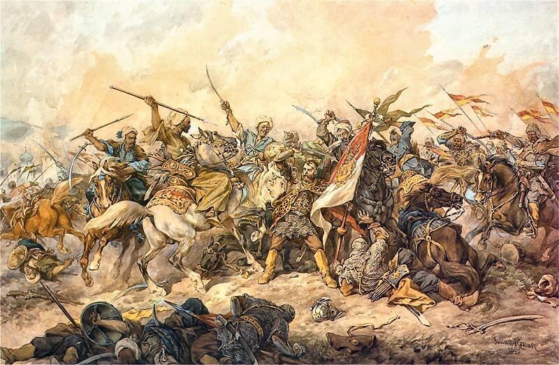 Obraz przedstawia grupę żołnierzywalczących wobronie polskiego sztandaru pod Chocimiem