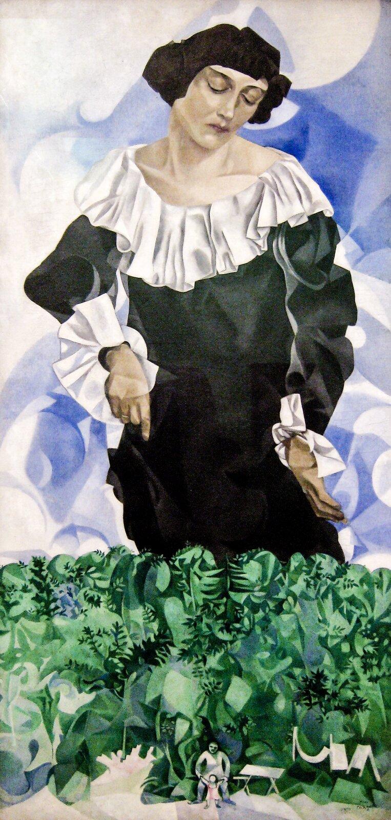 """Ilustracja przedstawia obraz olejny """"Piękna wbiałym kołnierzu"""" autorstwa Marca Chagalla. Wcentrum obrazu ukazana jest duża, ciemnowłosa kobieta wczarnej, długiej sukni zbiałym, falbaniastym kołnierzem imankietami. Wynurzająca się zzielonego lasu postać prawą dłonią lekko unosi spódnicę, smutno spoglądając wdół, gdzie pośród drzew namalowany został malutki mężczyzna bawiący się zdzieckiem. Obraz namalowany został prostymi, prawie geometrycznymi plamami kolorystycznymi, mimo to postać kobiety nosi cechy malarstwa realistycznego. Artysta namalował tą postać zdużą dbałością oszczegół ioddanie charakterystycznych cech jej wyglądu. Natomiast tło nieba, las oraz malutkie postacie mężczyzny idziewczynki zostały uproszczone, sprowadzone prawie do ornamentu. Dzieło utrzymane jest wchłodnej tonacji co podkreśla jego melancholijny nastrój."""