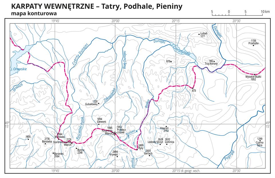 Ilustracja przedstawia mapę konturową Karpat Wewnętrznych – Tatr, Podhala iPienin. Na mapie szarymi liniami przedstawiono poziomice, czarną kropką przedstawiono szczyty iopisano ich nazwy oraz wysokości. Na mapie przedstawiono iopisano rzeki ijeziora. Czerwoną linią przedstawiono granicę Polski. Dookoła mapy wbiałej ramce opisano współrzędne geograficzne co piętnaście minut.