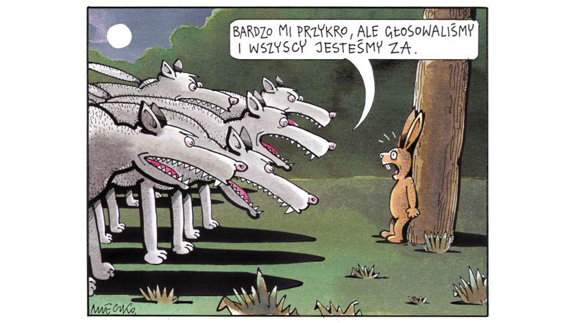 """Praca domowa. Wramce umieszczono Zadanie 1. Podane jest polecenie : """"Po obejrzeniu rysunku Andrzeja Mleczki:"""". Poniżej znajduje się podpisany przez autora rysunek satyryczny. Rysunek przedstawia stado wilków zwyszczerzonymi zębami. Wilki zwrócone są wkierunku drzewa, pod którym stoi przerażony zając. Ugóry rysunku, w""""dymku"""" znajduje się napis: """"BARDZO MI PRZYKRO, ALE GŁOSOWALIŚMY IWSZYSCY JESTEŚMY ZA."""". Poniżej znajduje się treść ćwiczenia: """"1. Nazwij problem przedstawiony na rysunku. 2. Wyjaśnij, jak we współczesnych państwach demokratycznych rozwiązano problem przedstawiony na rysunku. Podaj dwa przykłady."""" Pod ćwiczeniem znajduje polecenie do zadania 2: """"Zadanie 2 Przygotujcie się do debaty na temat: """"Ocena roli ruchów obywatelskiego sprzeciwu""""."""