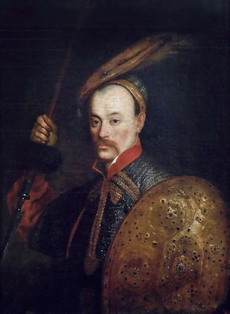 Portret hetmana polnego litewskiego Wincentego Korwin Gosiewskiego zdzirytem itarczą.