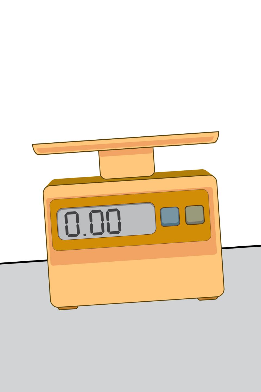Schemat przedstawiający wagę wyraźnie odchyloną od poziomu