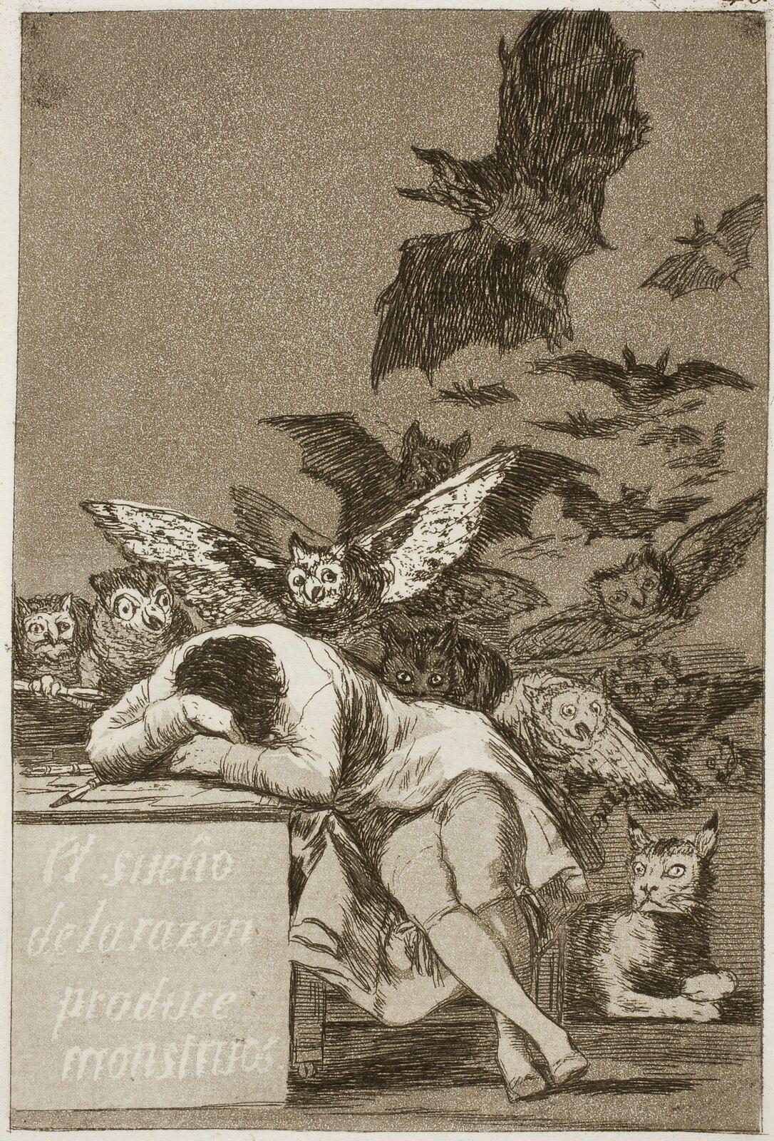 Kaprysy, obraz 43: Gdy rozum śpi, budzą się demony Źródło: Francisco Goya, Kaprysy, obraz 43: Gdy rozum śpi, budzą się demony, 1797-1798, akwaforta, Museo del Prado, Madryt, domena publiczna.