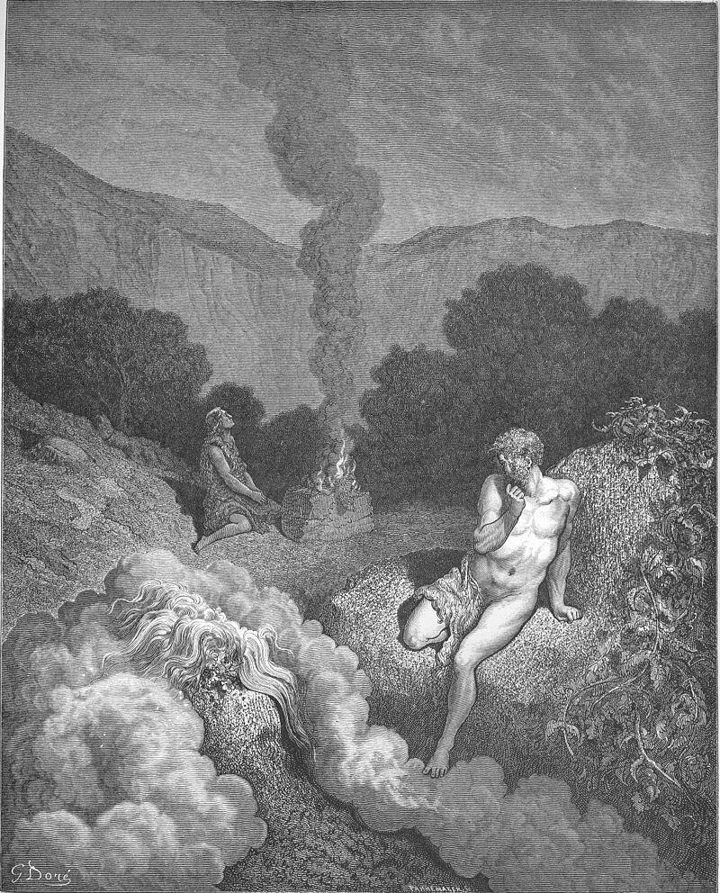 Kain iAbel składają swoje ofiary Źródło: Gustave Doré, Kain iAbel składają swoje ofiary, 1866, domena publiczna.