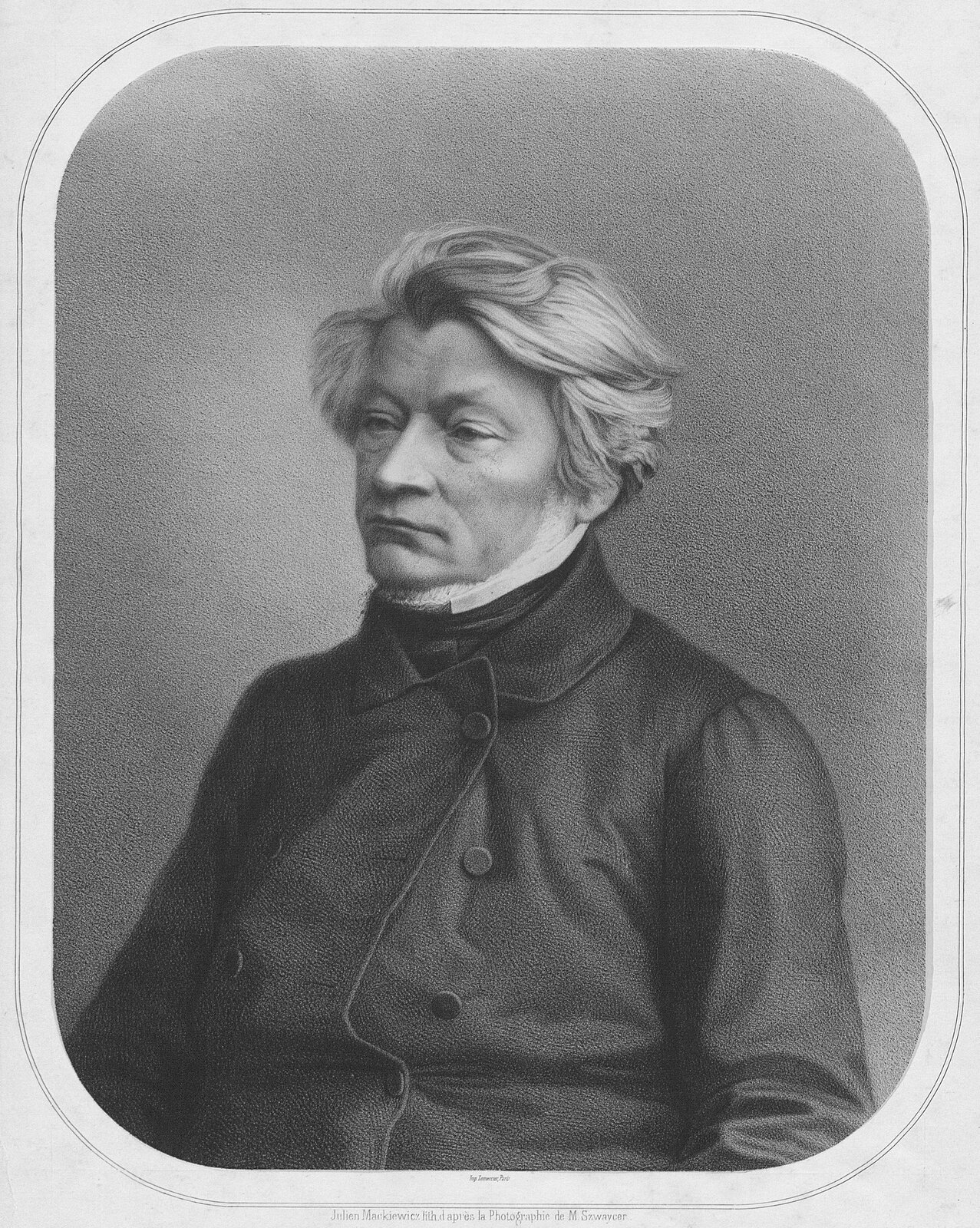 Portret Adama Mickiewicza Źródło: Julian Mackiewicz, Portret Adama Mickiewicza, ok. 1853, litografia, domena publiczna.