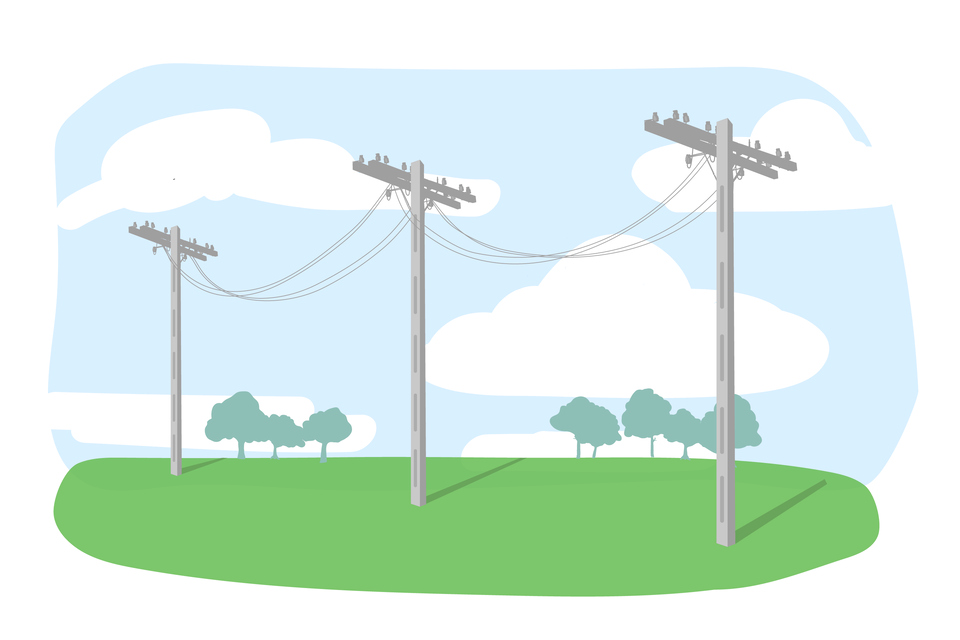 Ilustracja przedstawia sieć wysokiego napięcia latem - widać, że przewody elektryczne luźno zwisają pomiędzy kolejnymi słupami.