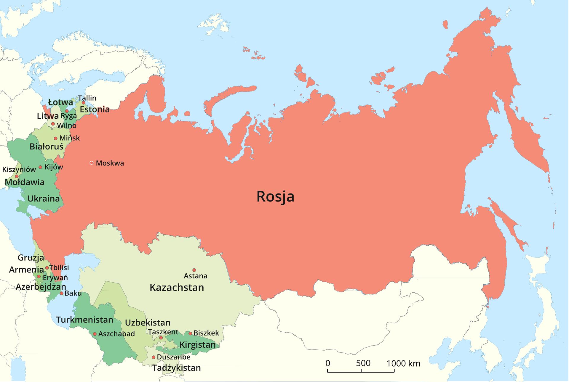 Na ilustracji mapa polityczna obrazująca rozpad Związku Radzieckiego. Kolorem czerwonym oznaczono Rosję, akolorami zielonymi czternaście kolejnych państw, powstałych wwyniku rozpadu Związku Radzieckiego: Armenia, Azerbejdżan, Estonia, Gruzja, Kazachstan, Kirgistan, Litwa, Łotwa, Mołdawia, Tadżykistan, Turkmenistan, Ukraina iUzbekistan. Opisano stolice.