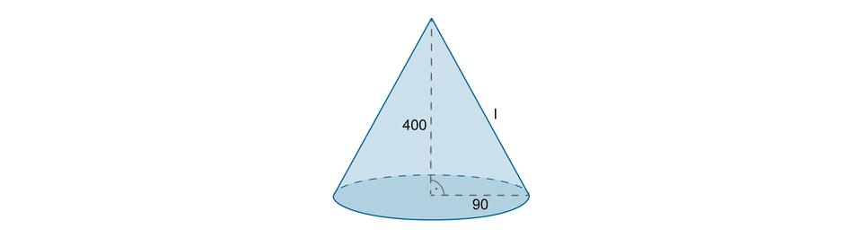 Rysunek stożka zpoprowadzoną wysokością równą 400 oraz promieniem podstawy długości 90.