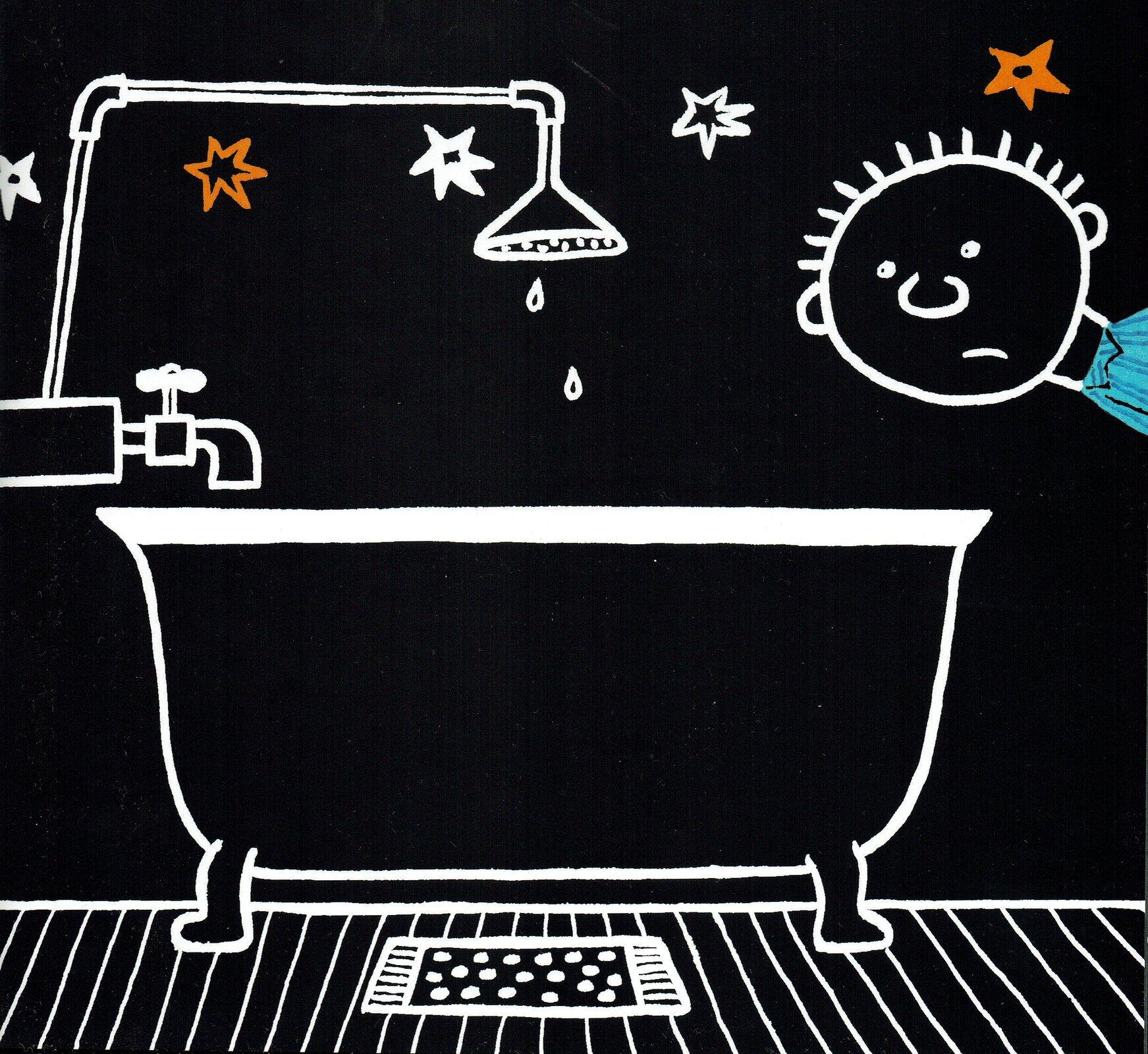 """Ilustracja przedstawia pracę Bohdana Butenki zksiążki """"Nocna wyprawa"""". Ukazuje wannę zprysznicem igłowę chłopca na czarnym tle. Na podłodze leży mały chodniczek wkropki. Nad wanną znajduje się kran, zktórego poprowadzony jest prysznic. Zprysznica kapią dwie krople wody. Wynurzająca się zprawej strony okrągła głowa chłopca zwykrzywioną miną skierowana jest wstronę wanny. Wgórnej części ilustracji zamieszczone zostały białe iżółte gwiazdki."""