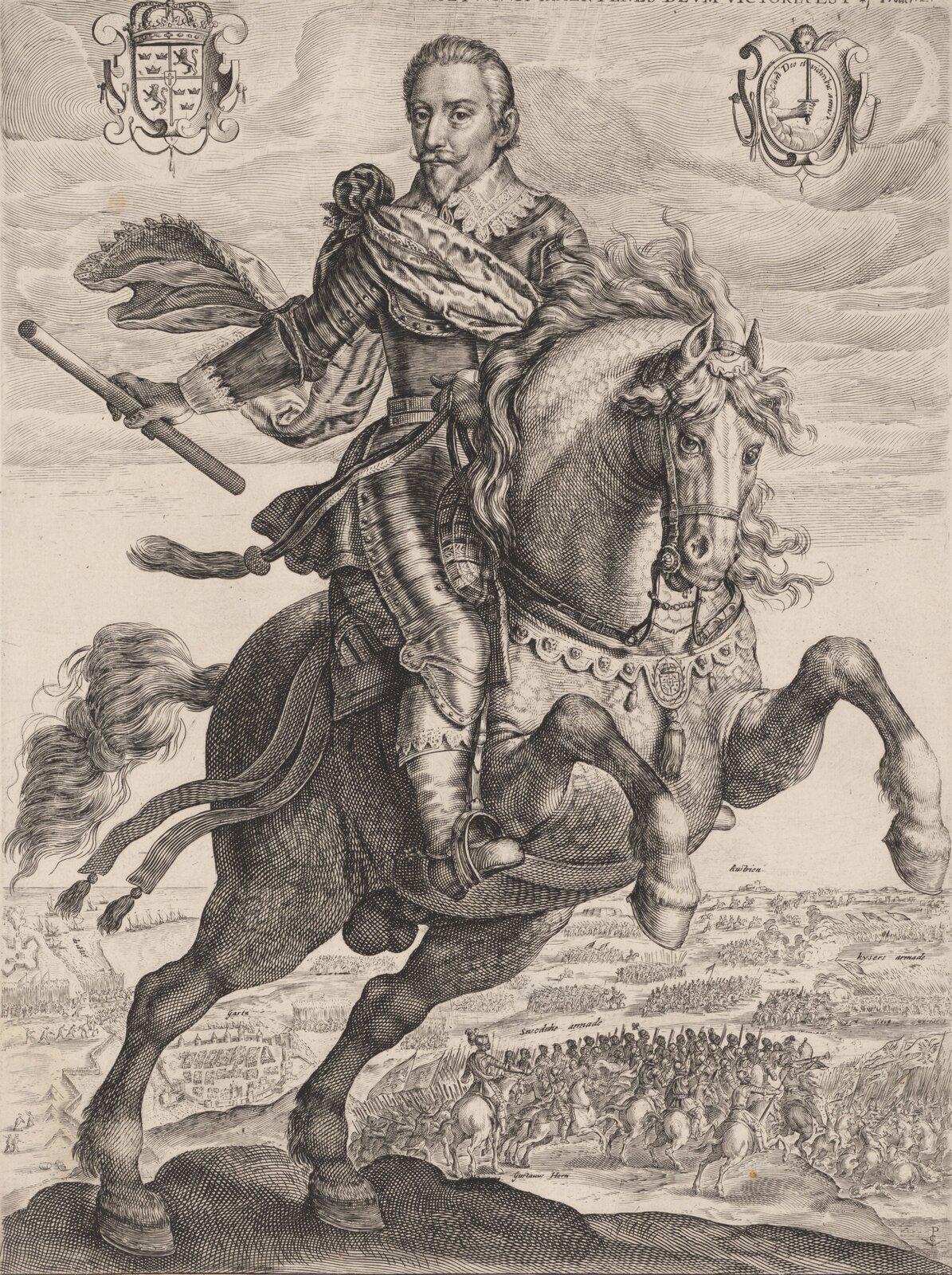 Portret konny Gustawa Adolfa, króla Szwecji. Król trzyma wręku buławę, będącą świadectwem jego przywództwa wojskowego. Koń staje dęba. Wtle bitwa.